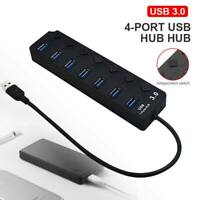 5GBPS Multi USB Hub 7 Port Fast 3.0 LED Splitter External Extension Cable UK