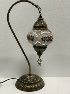 Authentic Turkish Moroccan Mosaic Colorful Swan  Neck Table Bedside Lamp #18