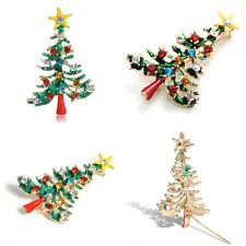 Brooch Enamel Gorgeous Rhinestone Crystal Christmas Tree Pin Holiday Party New