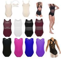 Girls Ballet Gymanstics Sleeveless Leotards Lace/Mesh Bodysuit Dancewear Unitard