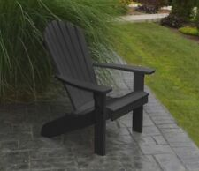 Fanback Poly Lumber Adirondack Chair - Black Color - Amish Made in the Usa
