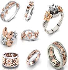 Lot Woman 925 Sterling Silver Flower White Sapphire Topaz Wedding Rings Sz 6-10