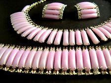 Vintage Kramer Necklace Bracelet Earrings Set Lavender Color Stone & Rhinestones