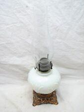 ANTIQUE MILK GLASS FLORAL OIL FLUID LAMP VICTORIAN LIGHT CAST IRON BASE