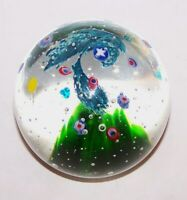 LOVELY VINTAGE MILLEFIORI FLOWERS & BUBBLES ART GLASS PAPERWEIGHT