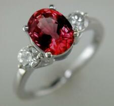 2.55ct Oval Ruby and F VS Diamond Ring in 18ct White Gold Engagement 3-Stone