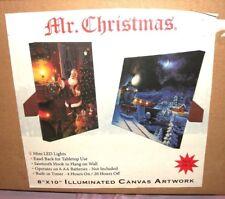 NEW MR. CHRISTMAS ILLUMINATED CANVAS ARTWORK 8X10 SANTA POLAR EXPRESS LIGHT UP
