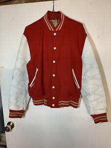 Varsity Letterman's Jacket, Red Wool, Leather Sleeves,  38