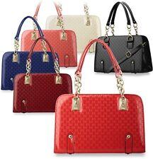 schicker Bowlingbag mit Prägungen Damen-Tasche Handtasche Schultertasche Farben