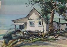 Lithograph of Landscape of Lakeside Cabin Watercolor by Walter Steinhilber