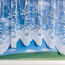 QUALITY JARDINIERE NEW BUTTERFLY SPRING FLORAL NET CURTAIN PANEL 18 SIZES WHITE