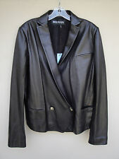BALMAIN BLACK LEATHER JACKET DRESS TOP BLAZER COAT NEW