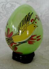 Collectible Green Blown Art Glass Egg w/Hand Painted Bird & Berries - On Stand