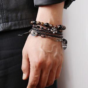 Beaded bracelet leather wrap gemstone wristband mans womans BR102B BIKELIST