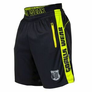 GORILLA WEAR SHELBY ATHLETIC SHORTS WEIGHTLIFTING GYM BLACK NEON LIME MENS SIZES