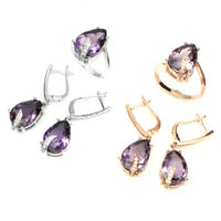 Unheated Amethyst Pear 14x10mm Natural Cz 925 Sterling Silver Ring Earrings