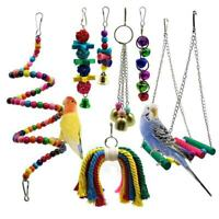 Bird Parrot Toys, 7 Packs Bird Swing Chewing Hanging Perches With Bells For P1V8