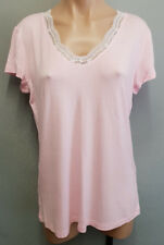 BNWT Ladies Sz 14 L MIX Brand Lace Trim Ballerina Pink V Neck Tee Top