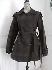 ALLSAINTS GREEN CHECK GAURI TRENCH COAT SIZE 14 16 EXCELLENT CONDITION