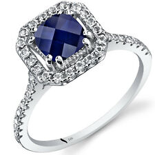 14k White Gold Created Sapphire Cushion Cut Halo Ring 1.00 CTS Size 7