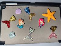 3D Mermaids & Tails & Star Fish,Lot Of 9 Shoe, Bracelet, Lace Charms, Fits Crocs
