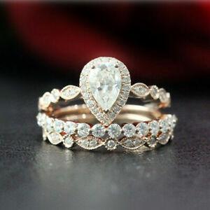 2.50 Ct Pear Cut VVS1/D  Diamond Halo Engagement Trio Ring 14K Rose Gold FN.