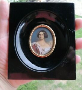 VICTORIAN ANTIQUE SIGNED MINIATURE PORTRAIT PAINTING MARIE OF PRUSSIA