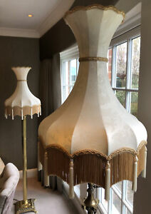 Victorian Downton Abbey Traditional Antique Style Cream Tassel Trumpet Lampshade