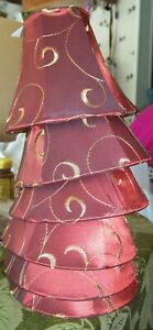 6 Mini Chandelier Cloth Shades Cranberry Gold Swirl Clip On Bell Shape