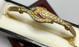 18k Yellow Gold Pink Sapphire SNAKE Artisan Bali Bangle Cuff 750 Bracelet 6 3/4""