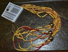 "19"" to 21"" OLD NAVY Fall Colored Beaded Necklace 9 Strands thick"
