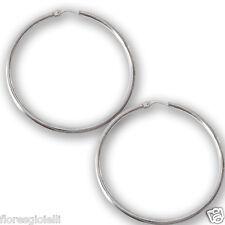 Orecchini a cerchio in argento rodiato 925, orecchino, Flores Gioielli