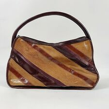 KATE LANDRY Collection Large Satchel Suede, Leather, Velvet Brown/Purple Retro