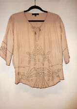 Anthropologie Sanctuary Pink Beige Beaded Boho Peasant Beaded Top, sz S
