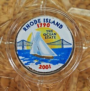 COLORIZED 2001-D UNCIRCULATED RHODE ISLAND STATE QUARTER....#13365