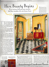 1927 Armstrong Linoleum Floors Inlaid Embrossed Hall Kitchen Living Room Vintage