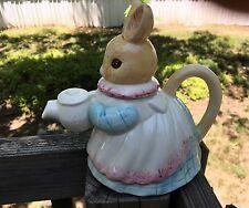 Lady Bunny Rabbit Decorative Ceramic Teapot Easter Decor