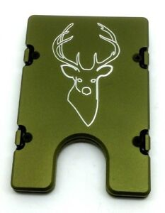 BilletVault Wallet, Aluminum RFID protection, Buck Head, Green