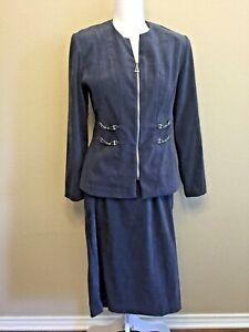 Ladies Size 8 Petite Jacket & Skirt Gray Velour 2-Piece Suit Stretch PM
