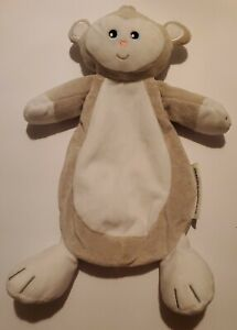 Blankets and Beyond Monkey Lovey White Gray Blanket Stuffed Toy Security 13""