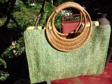 Vintage Fossil Forever Woven Straw Raffia Handbag Green Wood Handle Tote