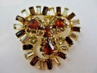 Stunning Vintage Estate Large Topaz Rhinestone Brooch/Pin-Baguettes-Pears- EUC