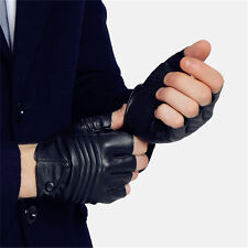 Leather Gloves for Men Half Finger Black Sports Gym Fitness Hiking Mitten 2017