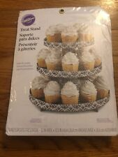 """Wilton 3 Tier Treat Stand 24 Cupcake Stand Damask 12""""X10.5"""" 070896207036"""