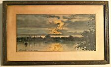 Antique 1918 Signed Watercolor Painting Landscape Beautiful