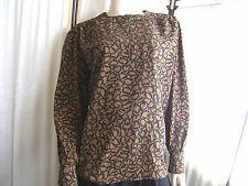 Camicia marrone con profilo di foglie nere tg 44