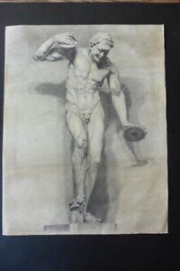 FRENCH SCHOOL 19thC - STUDY CLASSICAL FIGURE - DANCING FAUN - SIGNED CHARCOAL