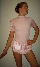 NEW Figure Skating Dress-Girl Extra Large-Pink-Short Sleeve-Attached Brief-Dance