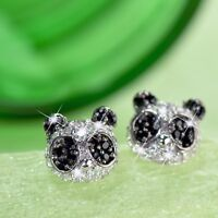 18k white gold filled made with SWAROVSKI crystal panda earrings stud cute