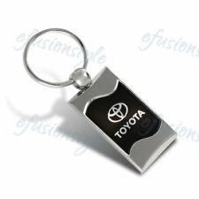 For Toyota Logo Black Rectangular Authentic Chrome Key Fob Keyring Keychain